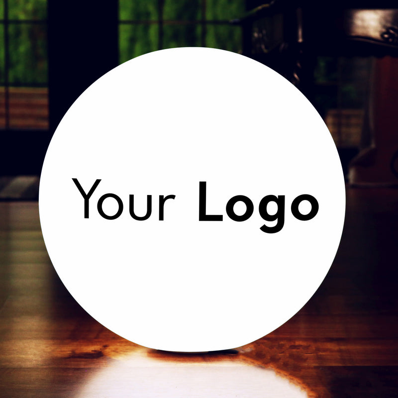 Large 60cm Branded LED Circular Light Box Sign with Logo, Personalised RGB Floor Lamp