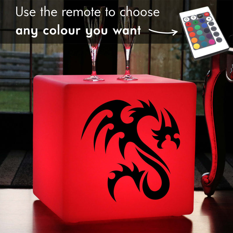 Unique Handmade Gift Light for Him, Modern Multicolour Rechargeable Illuminated Seat for Bar, Cube , Tribal Dragon Light Gift