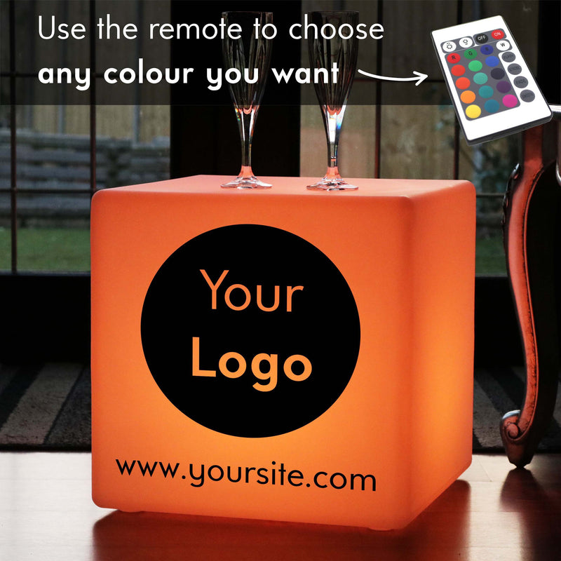 Custom Text Light Box, Garden Multi Colour Rechargeable LED Seat for Hotel, Cube 40 x 40 cm