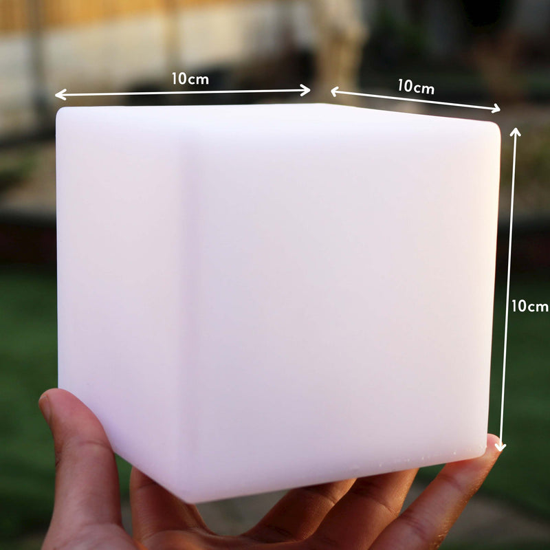 Bedside Table Night Lamp, 10cm LED Cube, Battery Colour Changing Light + Remote