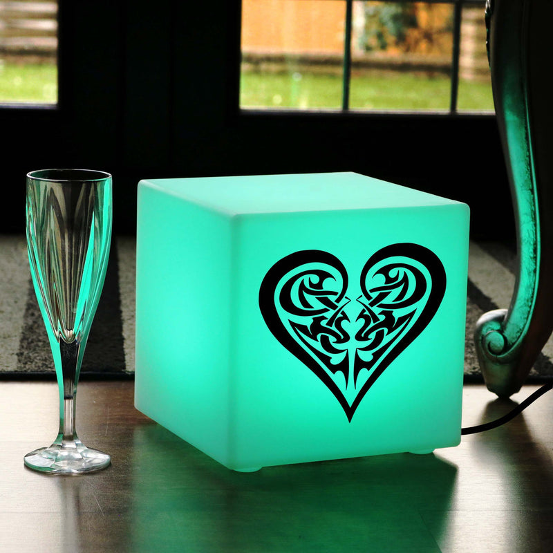 Original Handmade Gift Light for Him, Decorative Ambient Table Lamp Centrepiece for Nightclub, Cube , Mains Powered, Tribal Heart Light