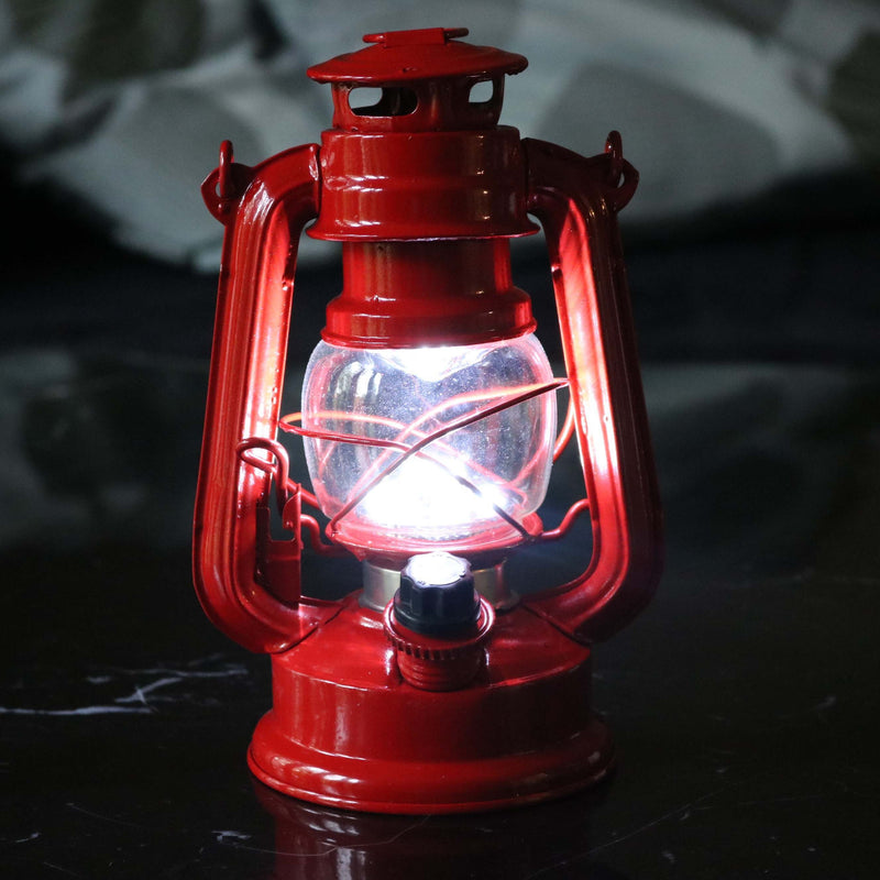 LED Storm Lamp, Dimmable Retro Battery Hurricane Lantern Light, Red