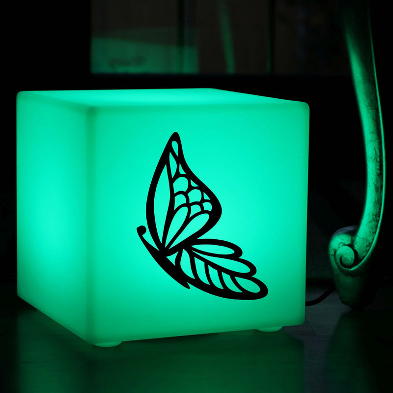 Hand Crafted Gift Lightbox, LED Ambient Table Bedside Lamp for Decoration, Cube , Mains Powered, Butterfly Gift Light