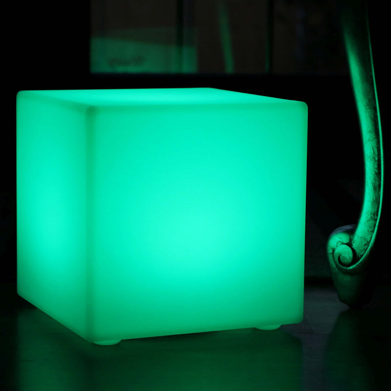 LED Cube Light, 30cm Rechargeable Table Lamp, Dimmable Colour Changing