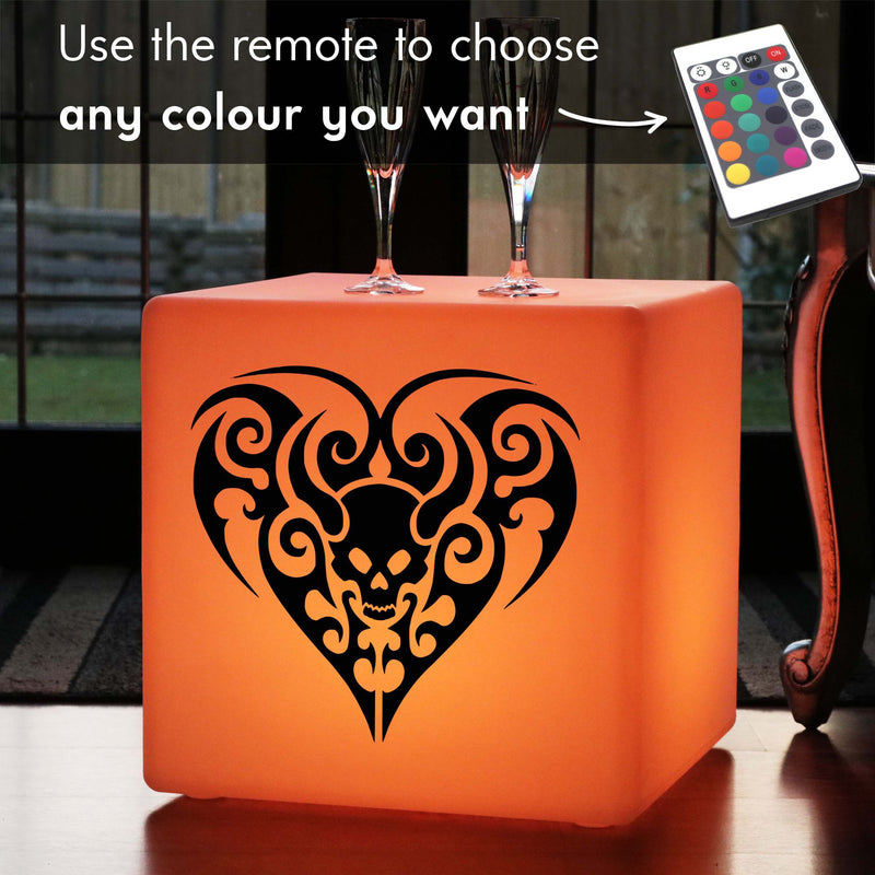 Creative Light Box, LED Multi-Colour Rechargeable Illuminated Stool for Night Club, Cube , Skull Heart Gift Lamp