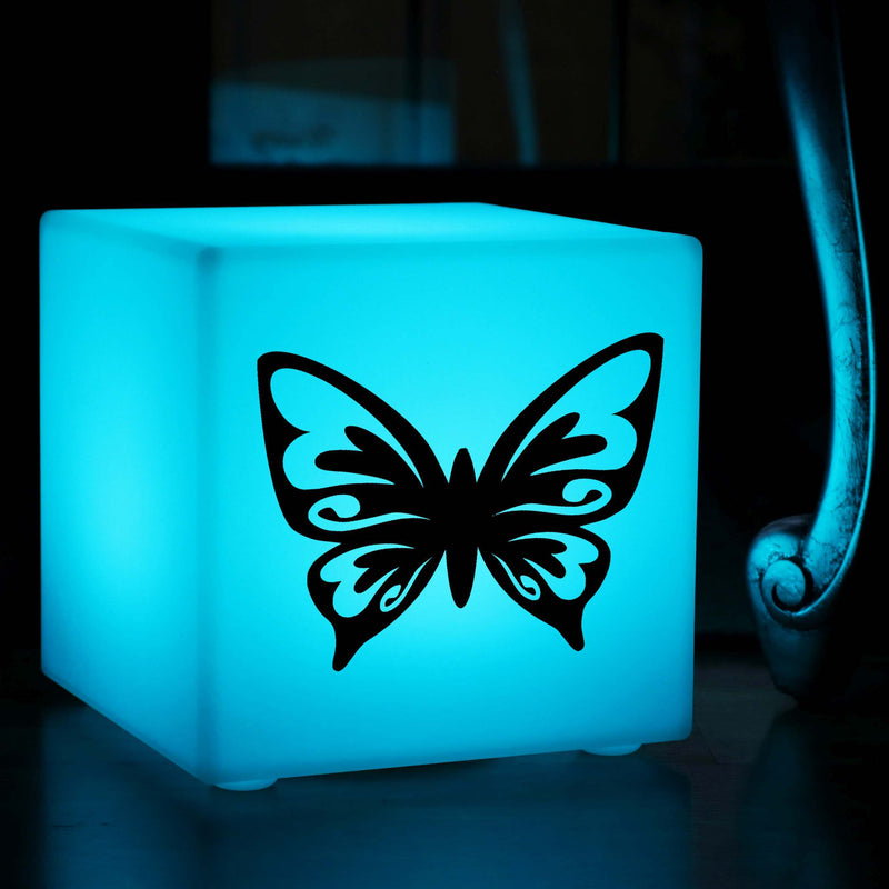Creative Handmade Gift Lamp, Outdoor Multicolour Rechargeable Table Bedside Lamp for Wedding, Cube , Butterfly Lamp