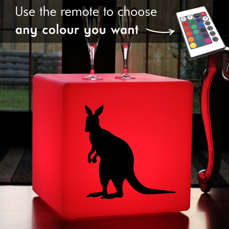 Original Handcrafted Thoughtful Gift Light, Living Room RGB Cordless Stool Seat Side Table for Anniversary, Cube , Kangaroo Lamp