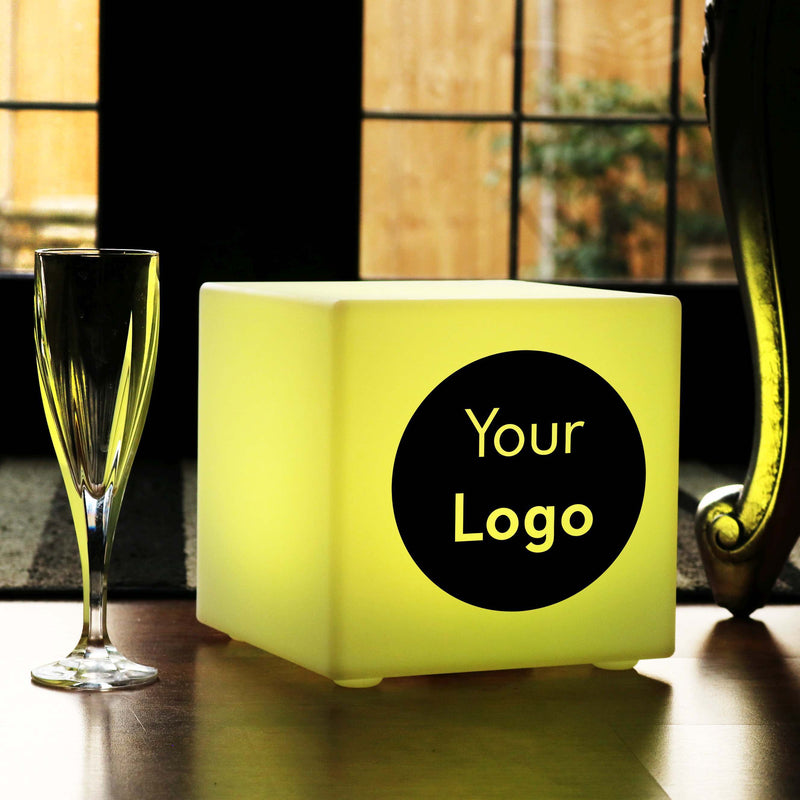 Unique Custom Lightbox, LED Dimmable Wireless Table Lamp for Event, Cube