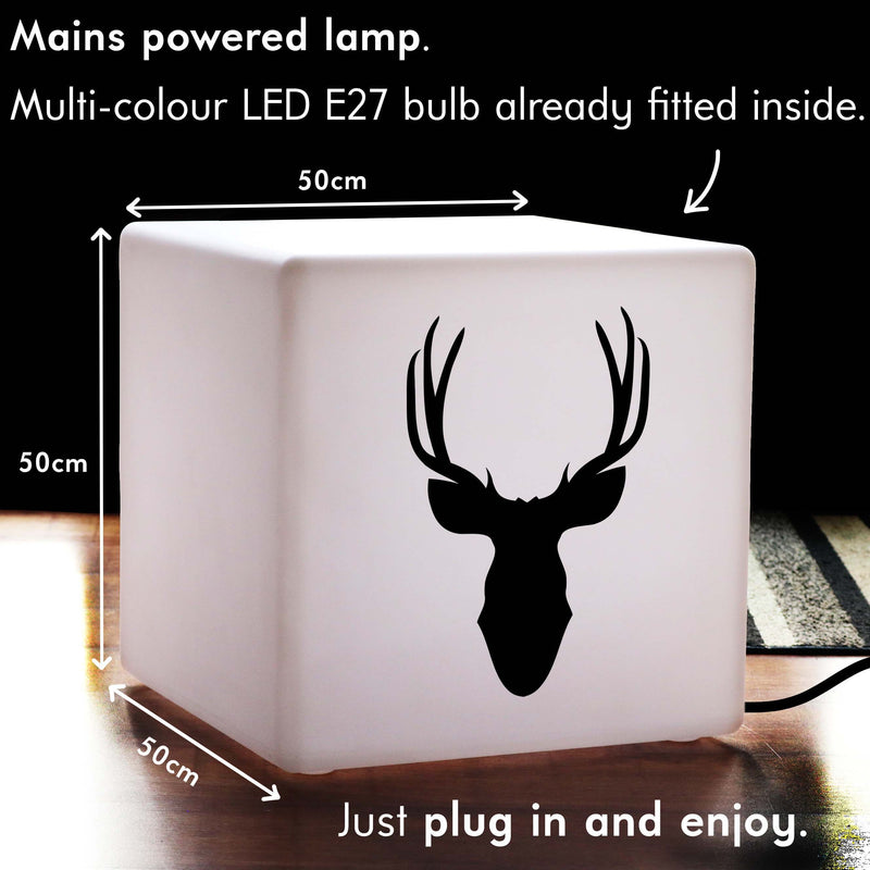 Creative Light Box, LED RGB Light Up Seat for Party, Cube , Mains Powered, Deerhead Gift Light