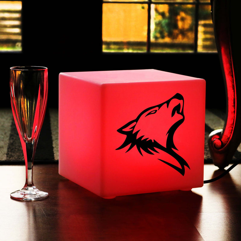 Funky Gift Lightbox, Living Room Dimmable Table Lamp Centrepiece for Birthday, Cube , Mains Powered, Wolf Head Light