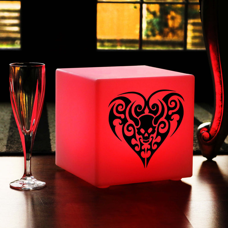 Hand Crafted Gift Light, Waterproof Remote Controlled Rechargeable Table Bedside Lamp for Party, Cube , Skull Heart Gift Lamp