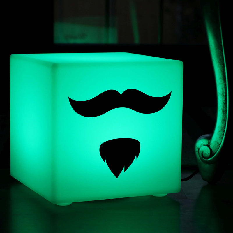 Unique Light Gift for Her, Lounge Remote Controlled Table Lamp for Nightclub, Cube , Mains Powered, Moustache and Beard Gift Light