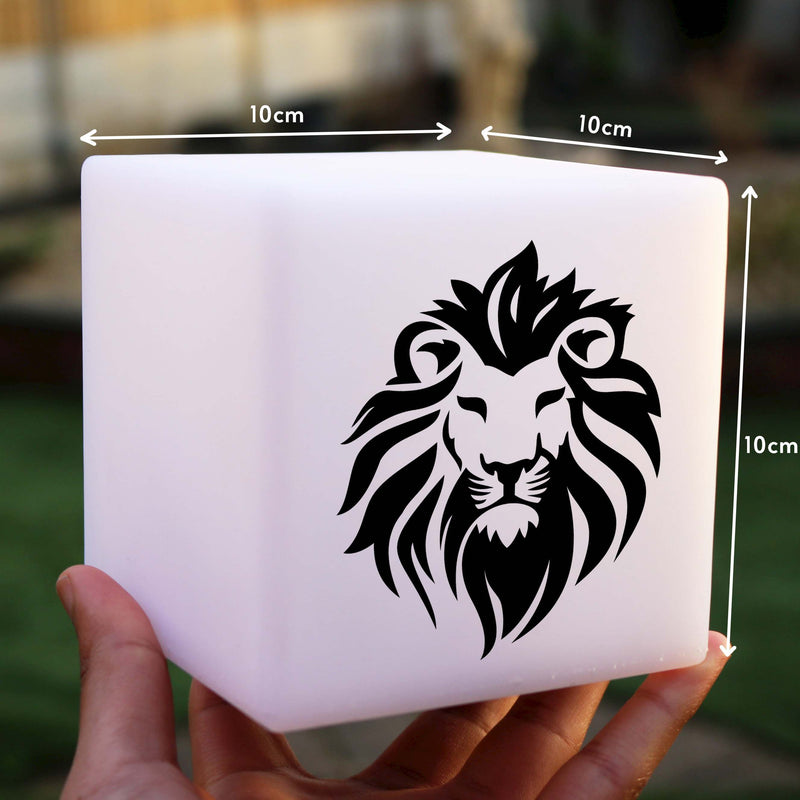 Hand Crafted Gift Lamp, LED Dimmable Wireless Bedside Table Lamp for Anniversary, Cube , Lion Light