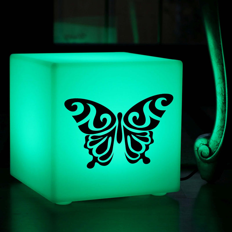 Hand Crafted Light Gift for Her, Modern Ambient Table Lamp for Night Club, Cube , Mains Powered, Butterfly Light