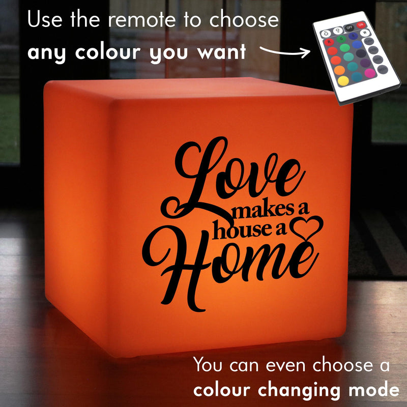 Funky Light Gift for Her, LED RGB Rechargeable Stool Seat Furniture for Bar, Cube , Love Makes a House a Home Lamp