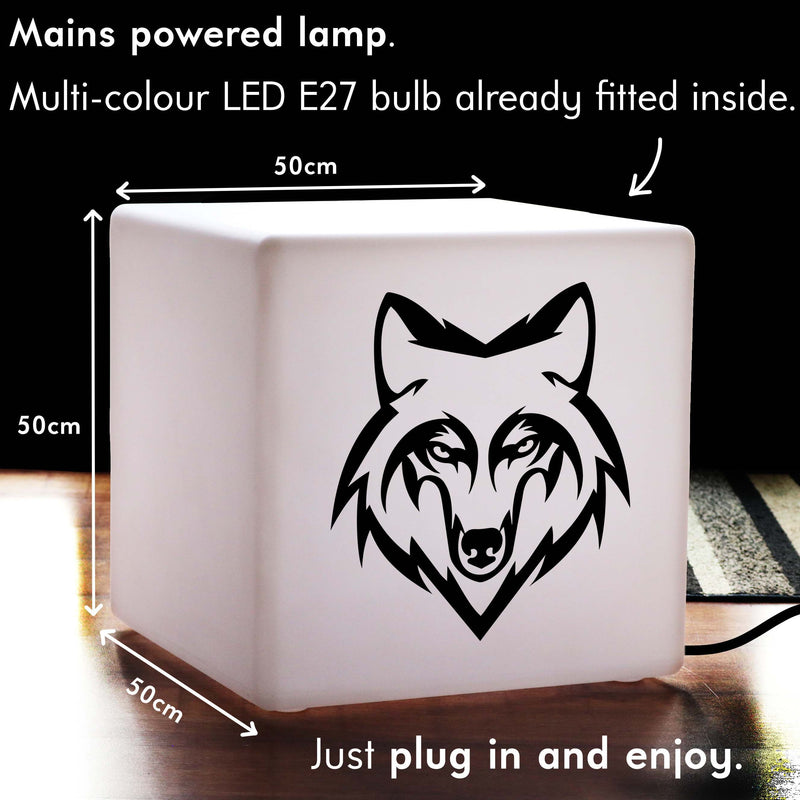 Unique Light, Contemporary Dimmable Illuminated Seat for Bar, Cube , Mains Powered, Wolf Head Gift Lamp