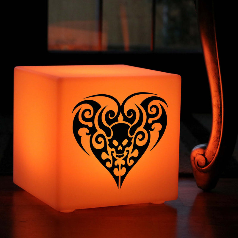 Hand Crafted Gift Light, LED Colour Changing Wireless Table Bedside Lamp for Nightclub, Cube , Skull Heart Gift Lamp