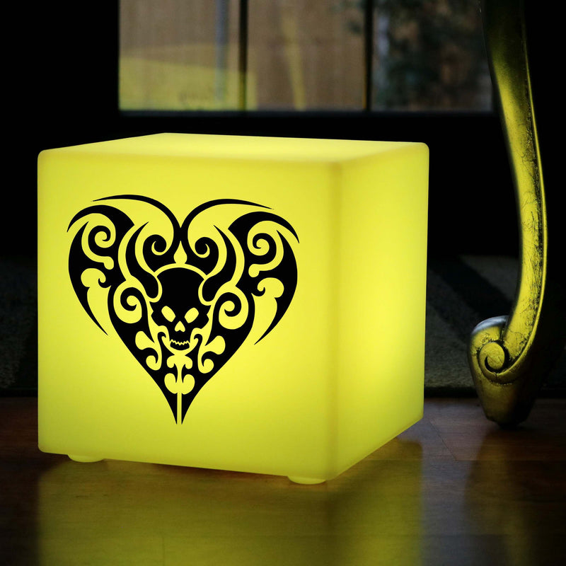 Original Gift Light for Him, Lounge Ambient Rechargeable Table Lamp for Restaurant, Cube , Skull Heart Lamp Gift
