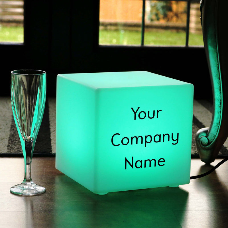 Multicolour Bedroom Table Lamp, Bespoke Gift Light Box for Party, Cube 20 cm, Mains Powered