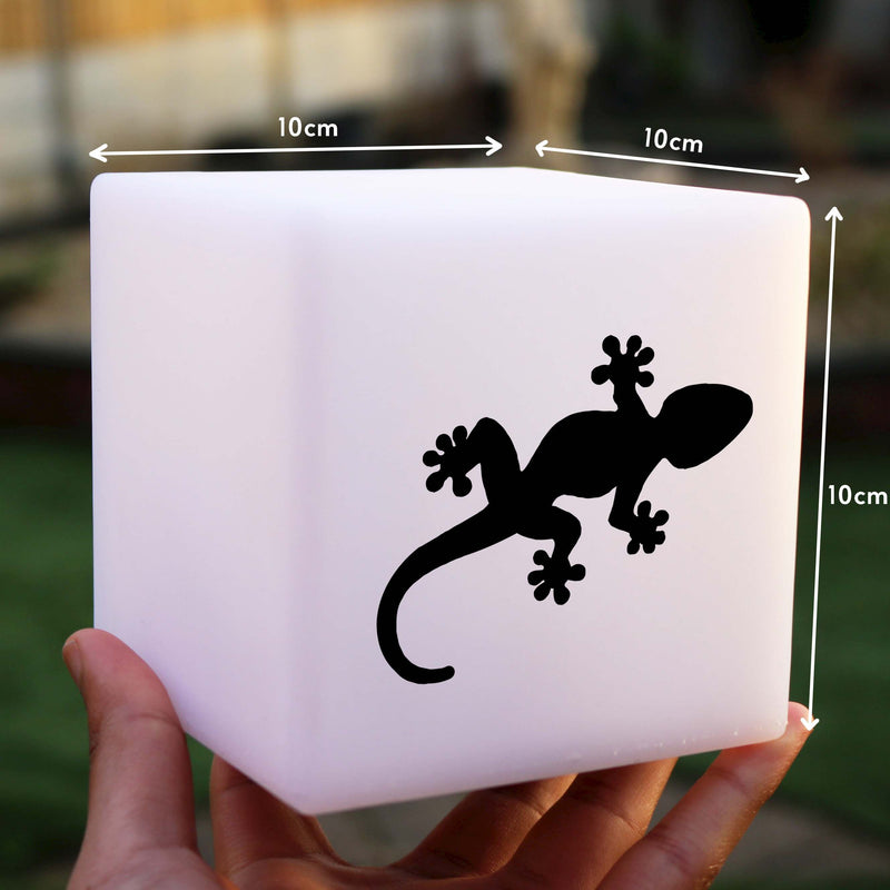 Quirky Light Gift for Her, LED Ambient Cordless Night Light for Event, Cube , Gecko Light
