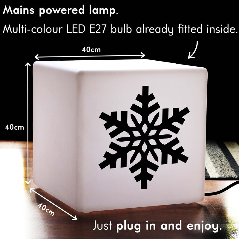 Hand Made Gift Light, Bedroom Multi Colour Illuminated Stool for Hotel, Cube , Mains Powered, Snowflake Lamp