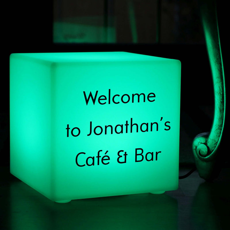 Personalised Sign Gift Lightbox, LED Ambient Table Bedside Lamp for Birthday, Cube 30cm, Mains Powered