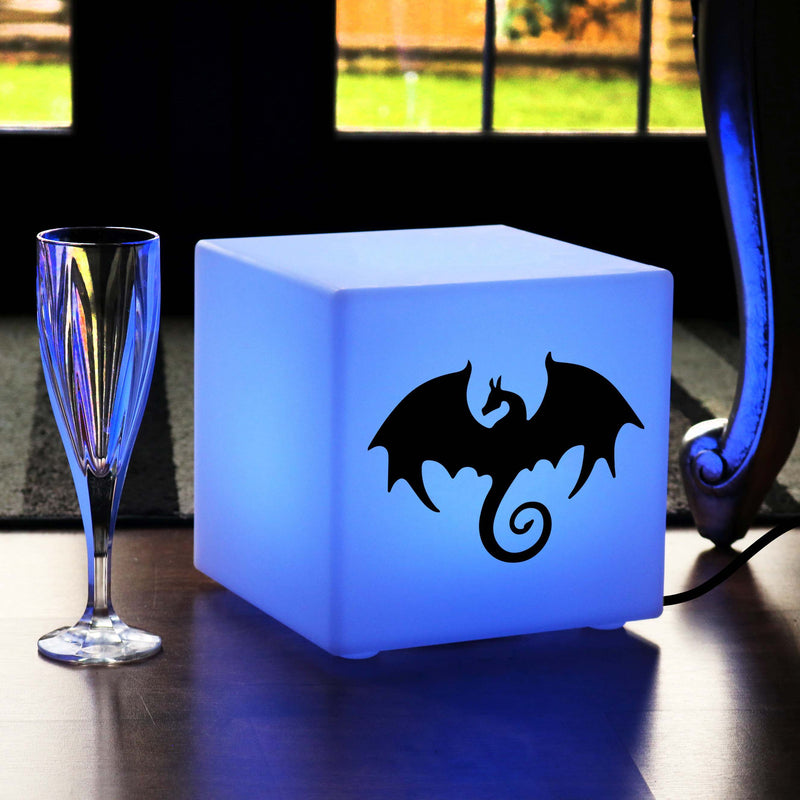 Original Handmade Thoughtful Gift Light, Decorative Colour Changing Table Lamp Centrepiece for Night Club, Cube , Mains Powered, Dragon Light Gift