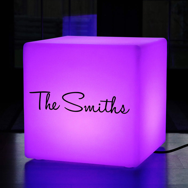 Promotional Customised Lightbox, Lounge Multi-Colour LED Stool for Anniversary, Cube 50cm, Mains Powered