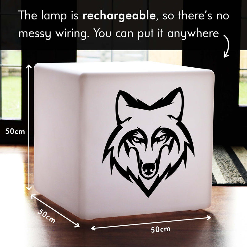 Unique Handcrafted Light Box, LED Dimmable Cordless Illuminated Stool for Event, Cube , Wolf Gift Lamp