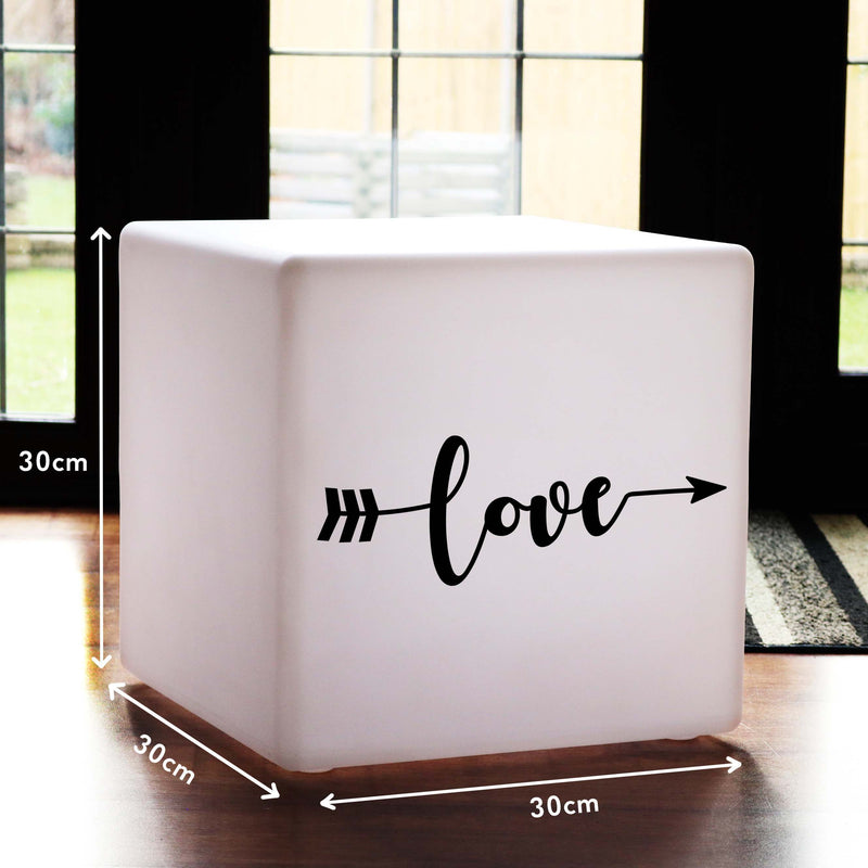 Original Gift Light for Him, Modern Multi Colour Wireless Table Lamp Centrepiece for Wedding, Cube , Love Arrow Gift Light