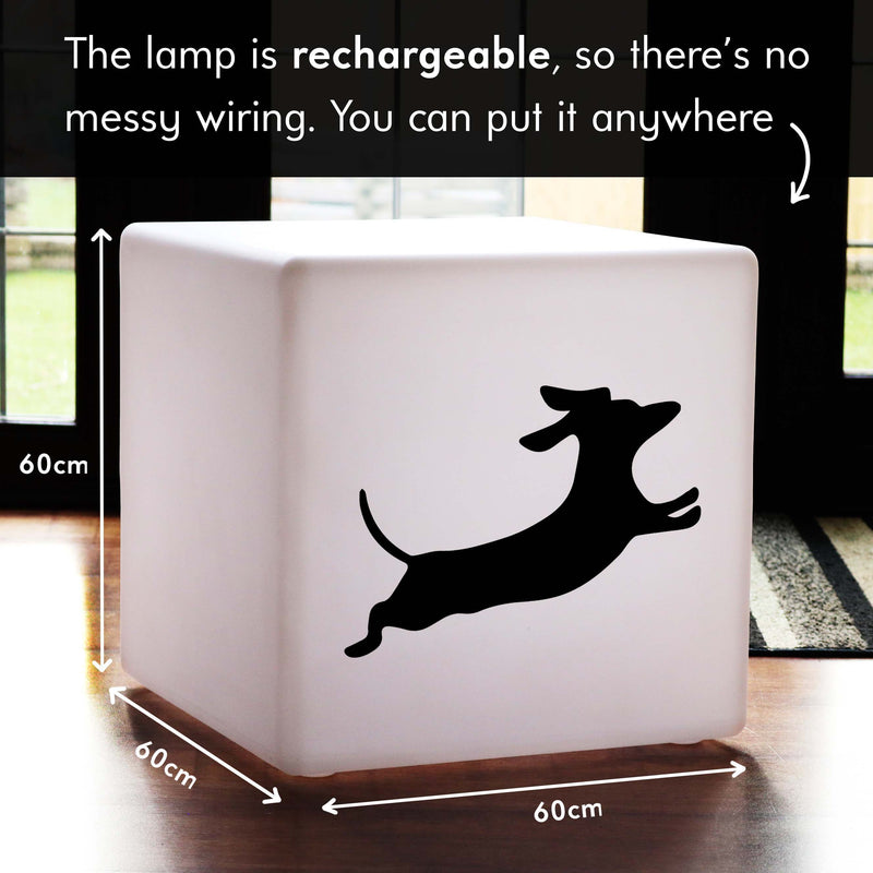 Creative Gift Light for Her, Waterproof Dimmable Cordless Stool Seat Furniture for Party, Cube , Dachshund Dog Lamp Gift