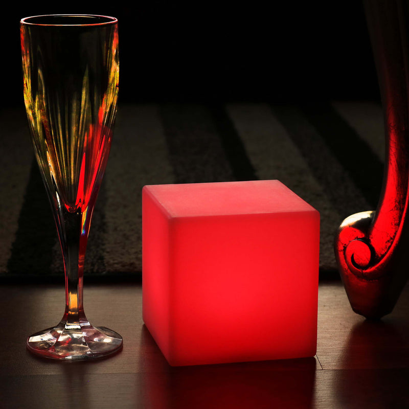 Table Night Lamp, 10cm LED Cube, Rechargeable Bedside RGB Mood Light + Remote