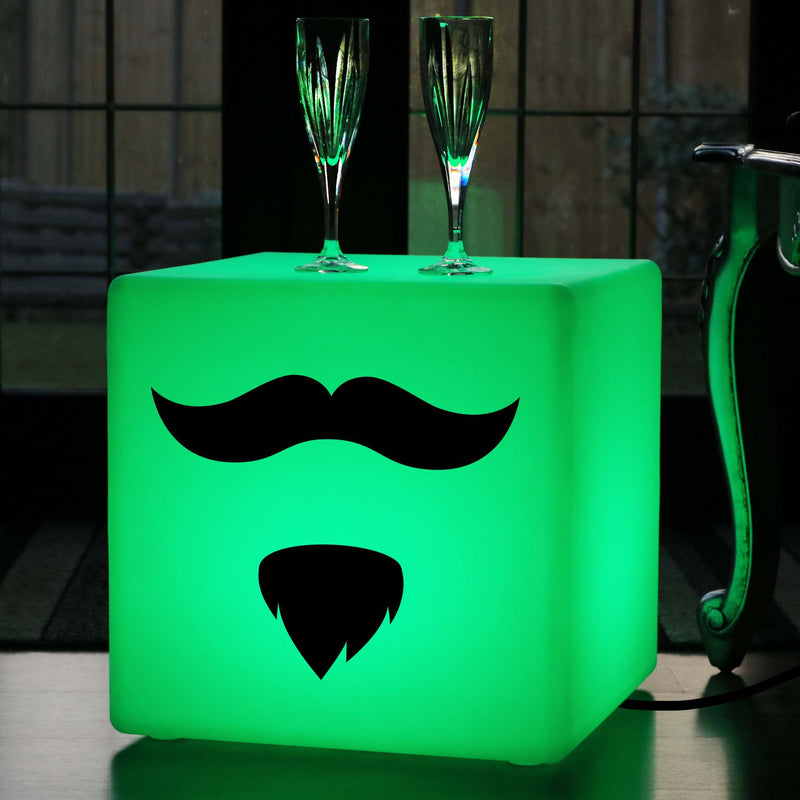 Creative Gift Lamp, LED Dimmable Illuminated Seat for Restaurant, Cube , Mains Powered, Moustache and Beard Lamp Gift