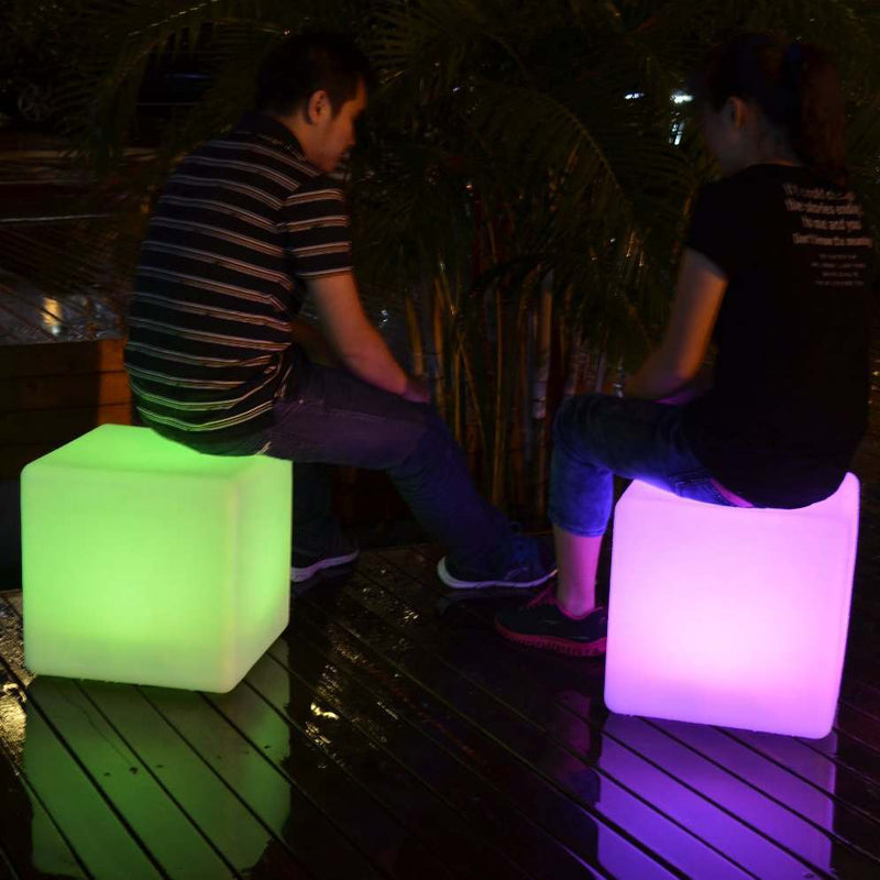 Outdoor LED cube stool with 2 people sitting on them