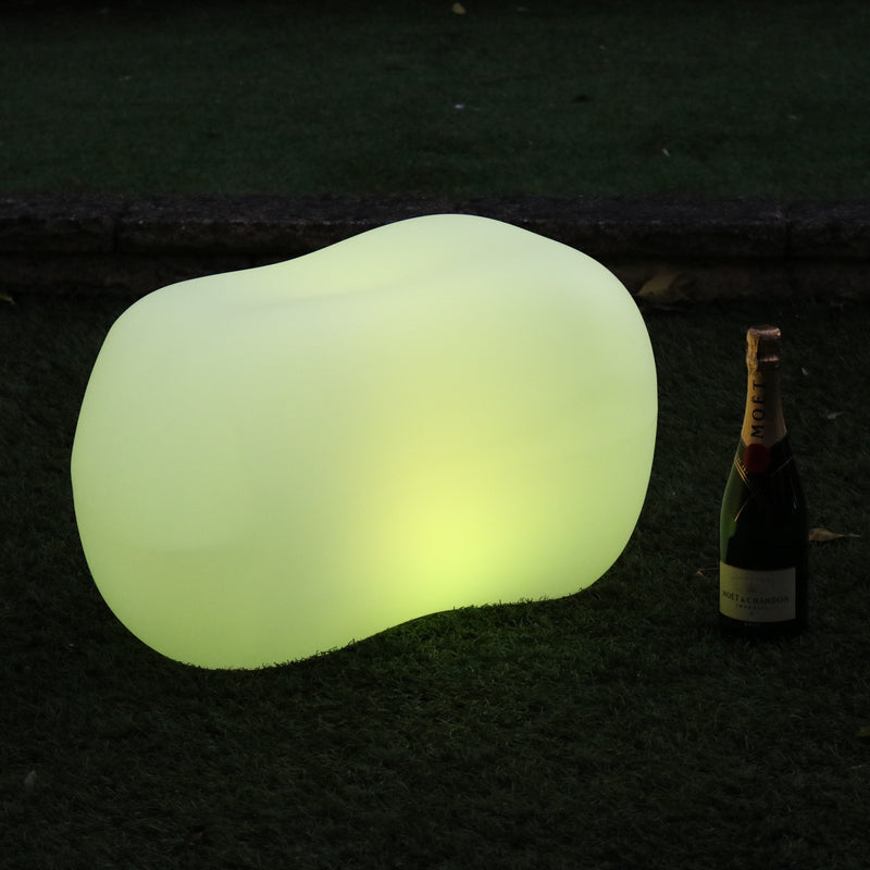 Outdoor Garden Patio LED Stone Pebble Lamp, Mains Powered 5V Decorative Lighting, RGB