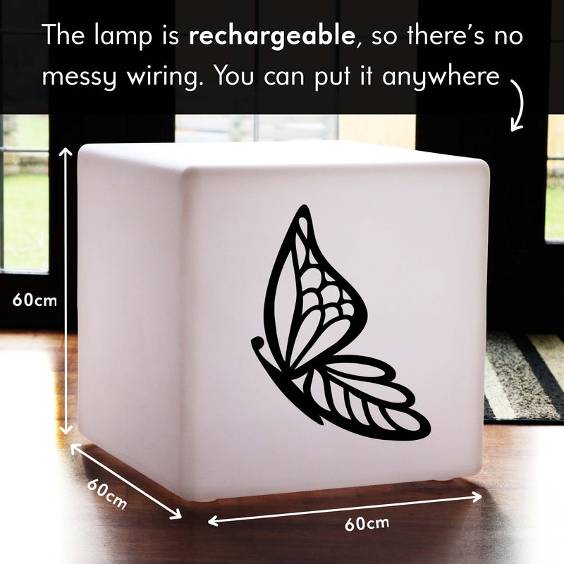 Quirky Gift Light for Him, Living Room Multi Colour Rechargeable LED Stool Seat for Birthday, Cube , Butterfly Light Gift