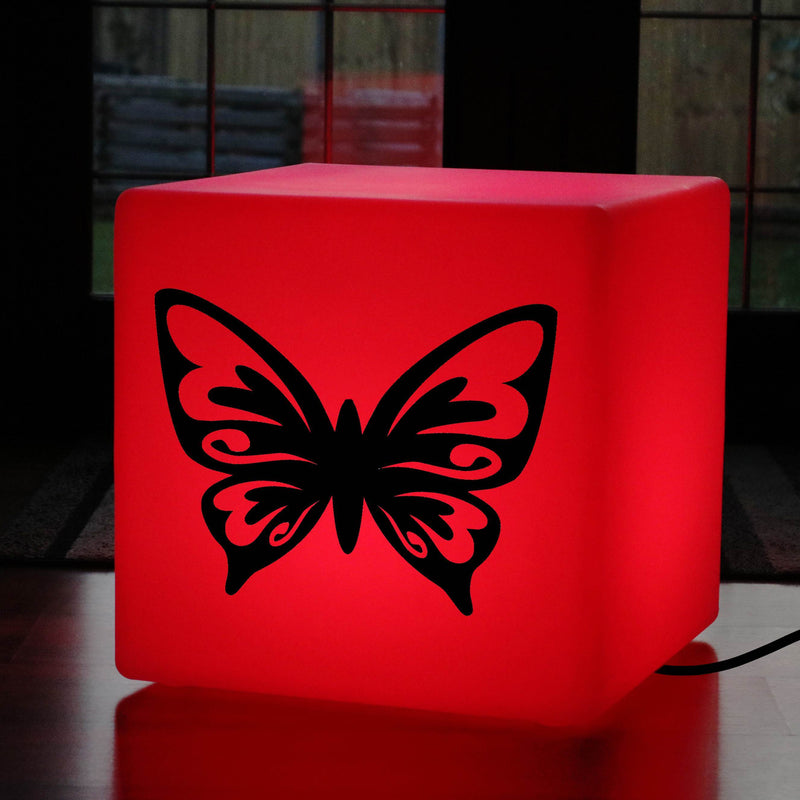 Original Handcrafted Gift Light for Him, Contemporary Dimmable LED Stool Seat for Decoration, Cube , Mains Powered, Butterfly Light