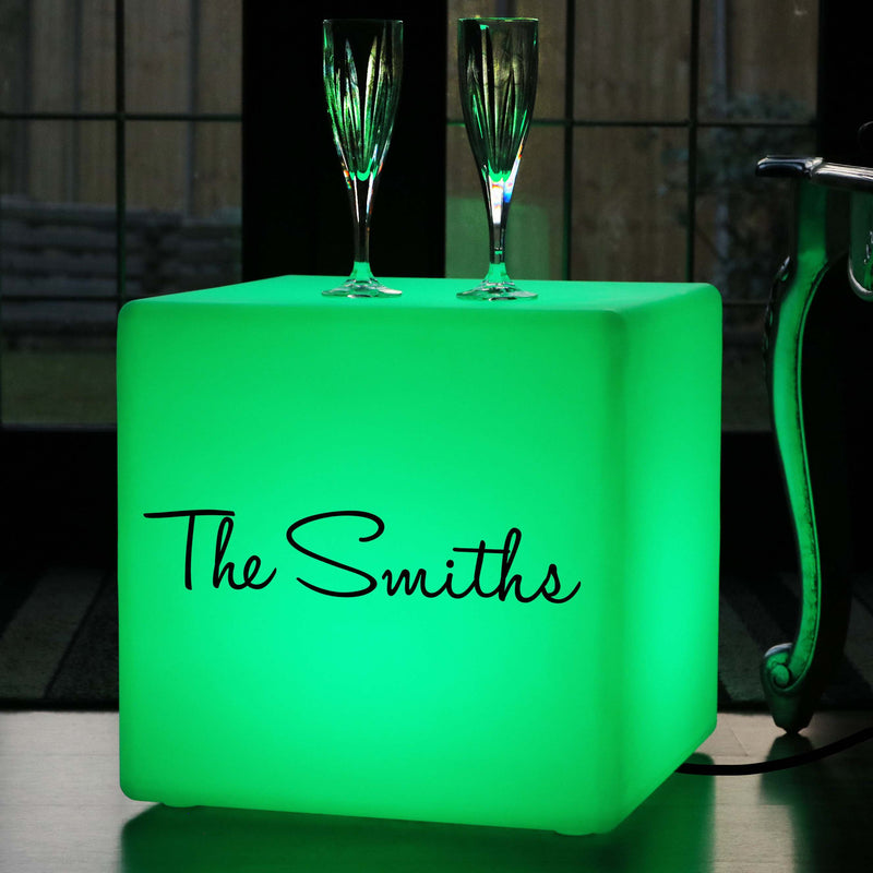 Illuminated Seat, Customised Dimmable LED Gift Lightbox for Decoration, Cube 40 x 40 cm, Mains Powered