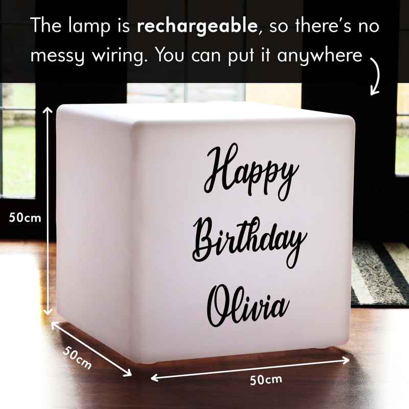 Personalised Gift Light Box, Bedroom Dimmable Wireless LED Seat for Restaurant, Cube 50 x 50 cm