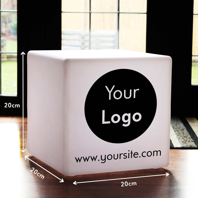 Multicolour Cordless LED Table Bedside Lamp, Personalised Gift Light Box for Hotel, Cube 20cm