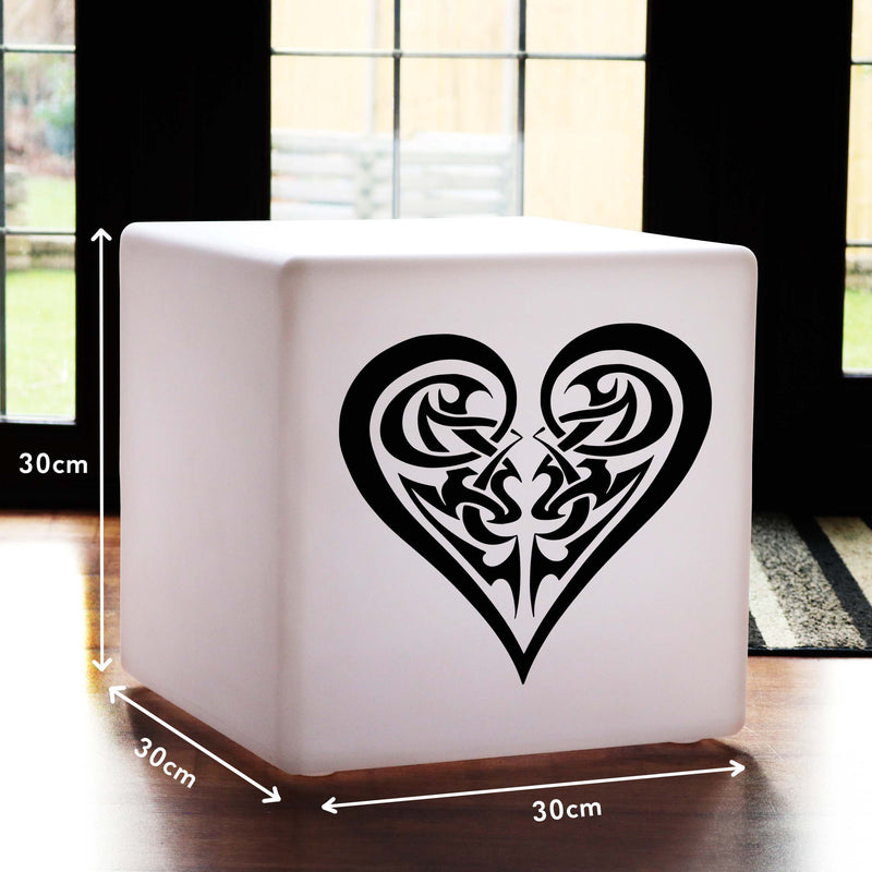 Original Handcrafted Gift Light for Him, Contemporary Colour Changing Wireless Table Lamp Centrepiece for Decoration, Cube , Tribal Heart Light