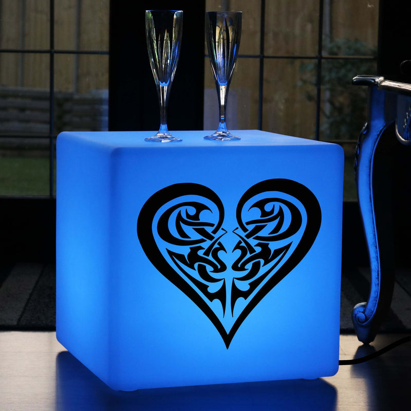 Original Handcrafted Light Gift for Her, Lounge Colour Changing LED Stool for Event, Cube , Mains Powered, Heart Tribe Lamp Gift