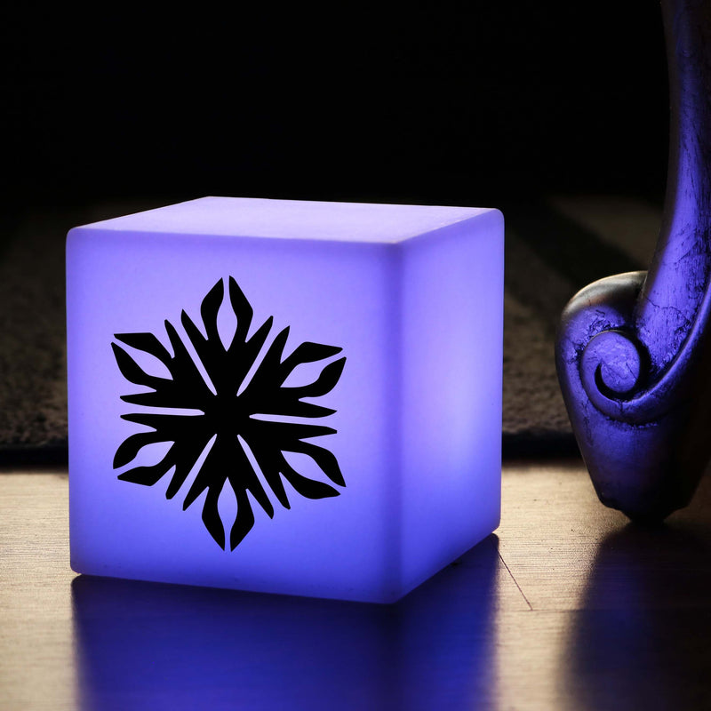 Quirky Light Gift for Her, LED Dimmable Rechargeable Bedside Table Lamp for Bar, Cube , Snowflake Lamp Gift