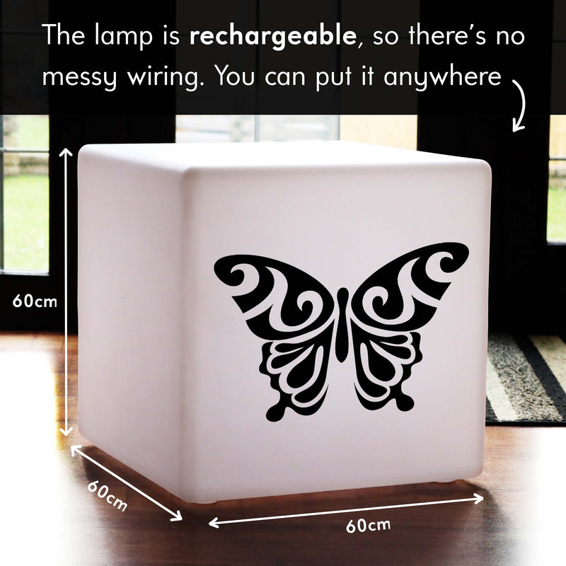 Quirky Gift Light, Modern RGB Cordless Illuminated Stool for Birthday, Cube , Butterfly Lamp Gift