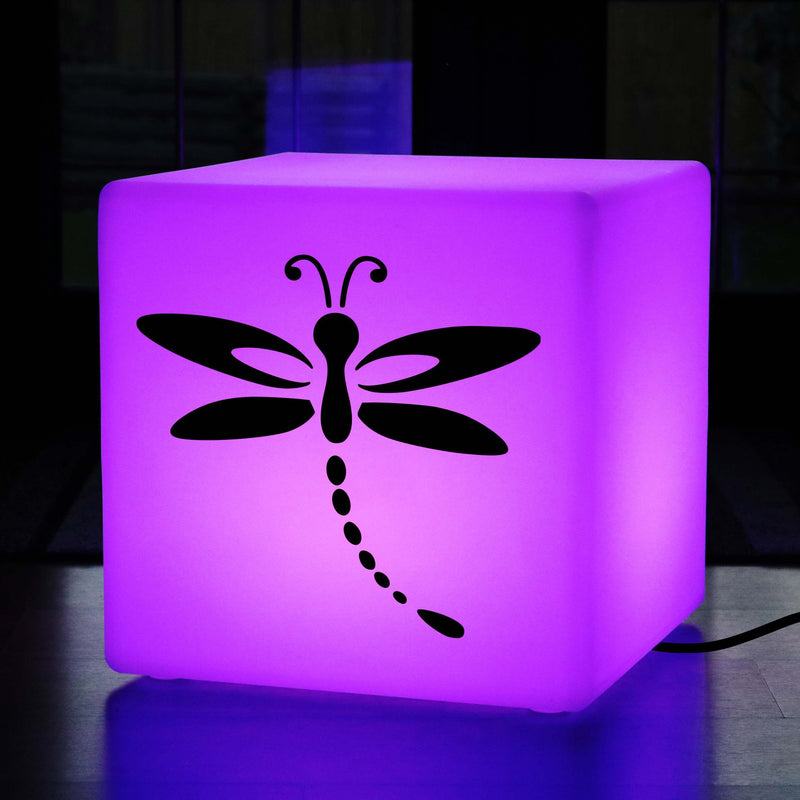Hand Made Gift Light Box, LED Multicolour Stool Seat Side Table for Decoration, Cube , Mains Powered, Dragonfly Gift Lamp