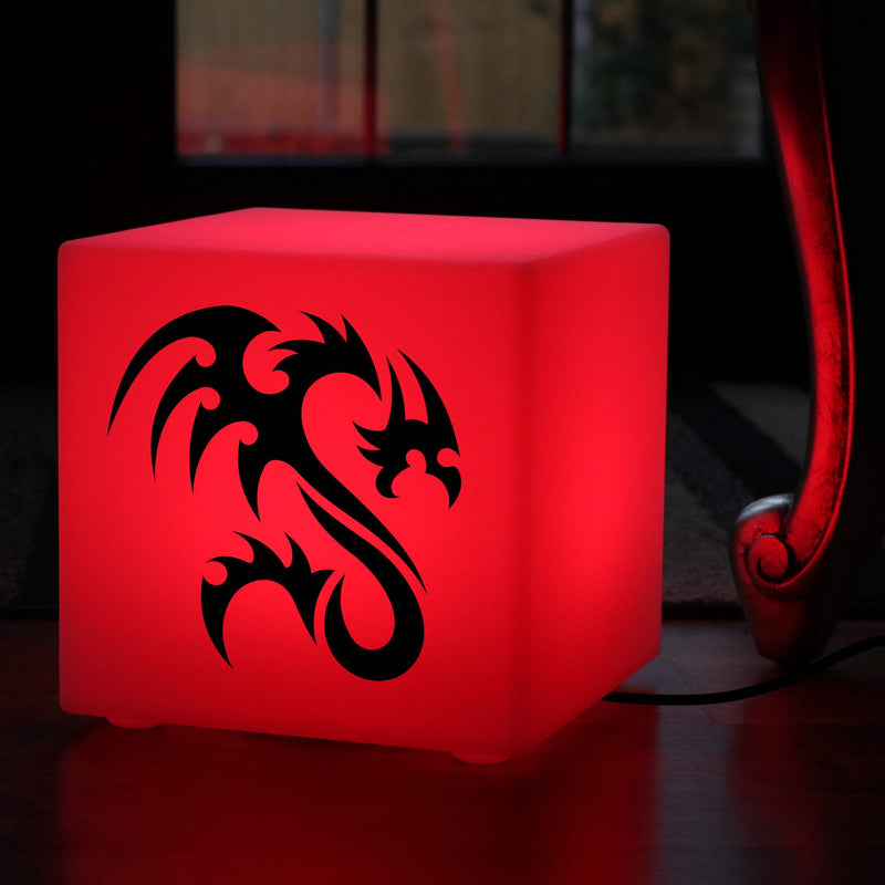 Hand Made Light Gift for Him, Bedroom Colour Changing Table Lamp Centrepiece for Event, Cube , Mains Powered, Tribal Dragon Light Gift