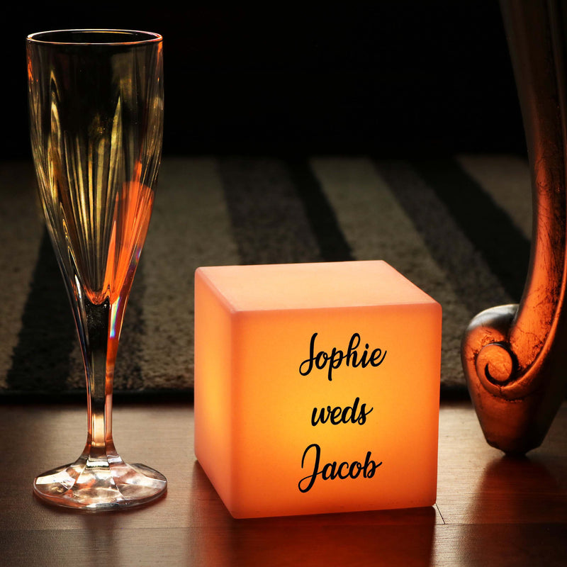 Remote Controlled Rechargeable LED Night Light Box, Promotional Customised Light Box for Wedding, Cube 10cm