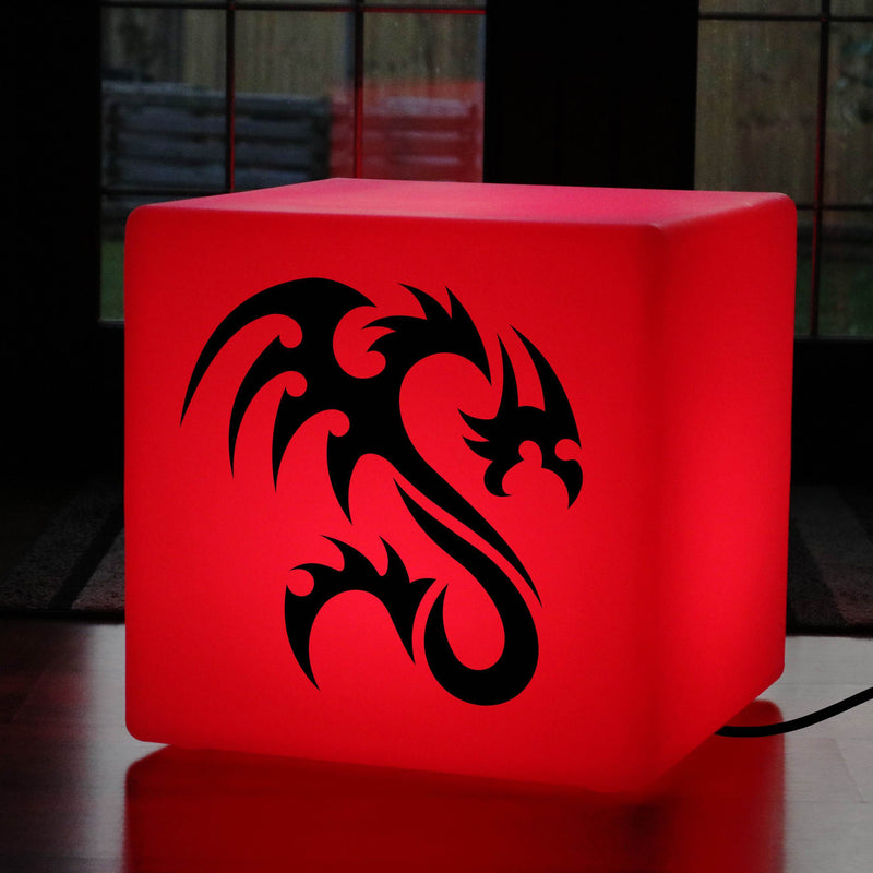 Unique Handmade Gift Lamp, LED Multi Colour Light Up Seat for Anniversary, Cube , Mains Powered, Dragon Lamp