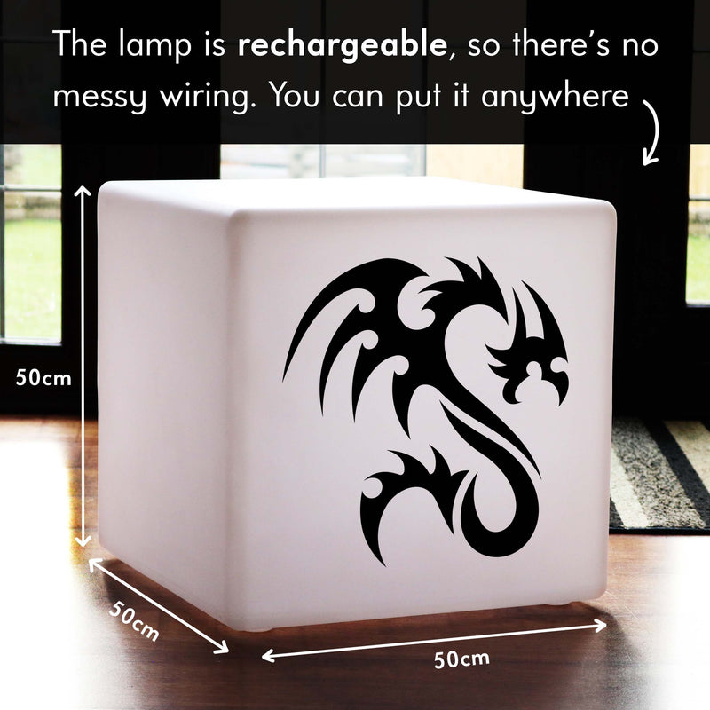Creative Handmade Gift Light, Outdoor Multi Colour Cordless Stool Seat Side Table for Wedding, Cube , Dragon Lamp Gift