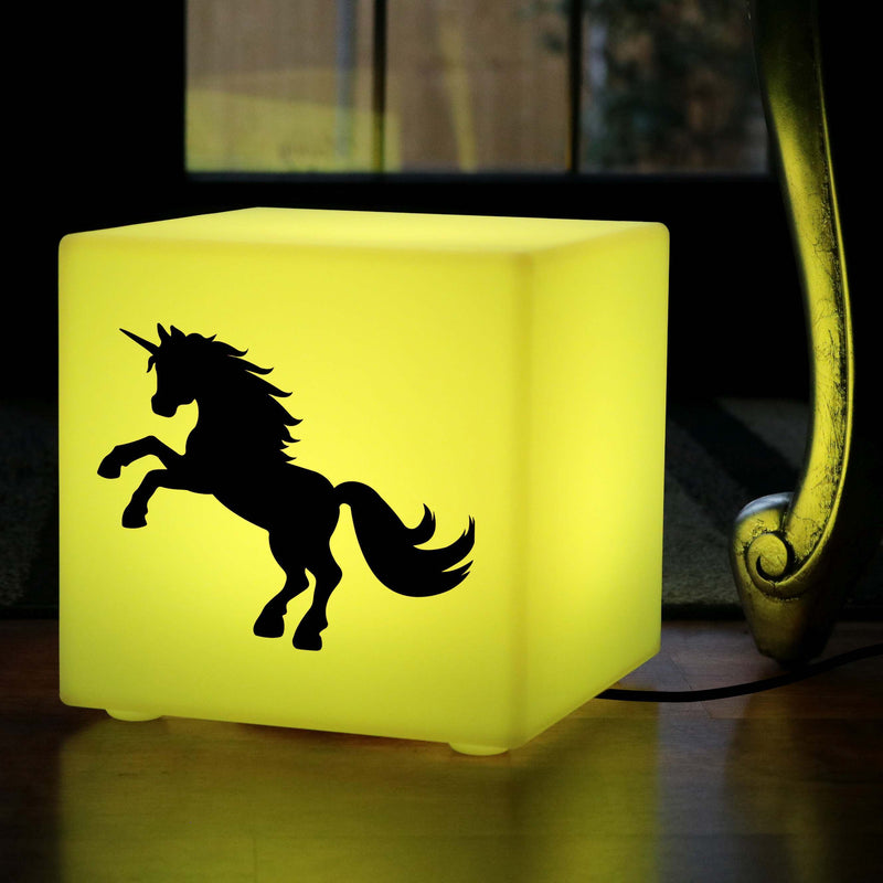 Creative Handmade Gift Light for Him, Lounge Dimmable Table Lamp Centrepiece for Night Club, Cube , Mains Powered, Unicorn Lamp Gift